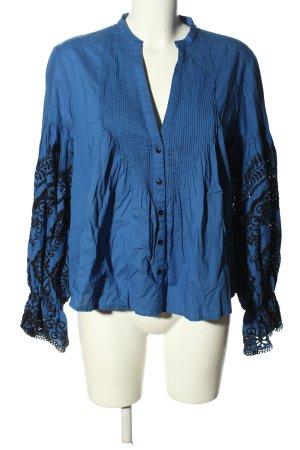 Zara Woman Langarm-Bluse blau-schwarz Business-Look