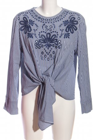 Zara Woman Langarm-Bluse blau-weiß Blumenmuster Casual-Look