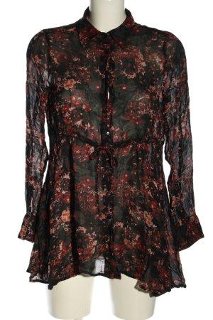 Zara Woman Langarm-Bluse Allover-Druck Elegant