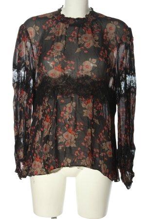 Zara Woman Langarm-Bluse schwarz-rot Blumenmuster Elegant