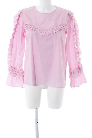 Zara Woman Langarm-Bluse rosa extravaganter Stil