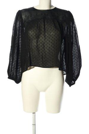 Zara Woman Langarm-Bluse schwarz Allover-Druck Casual-Look