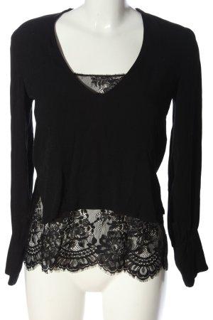 Zara Woman Langarm-Bluse schwarz Blumenmuster Casual-Look