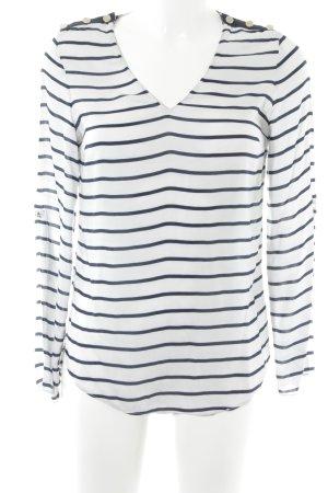 Zara Woman Langarm-Bluse weiß-dunkelblau Streifenmuster Casual-Look