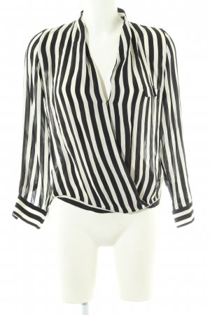 Zara Woman Langarm-Bluse wollweiß-schwarz Streifenmuster Elegant