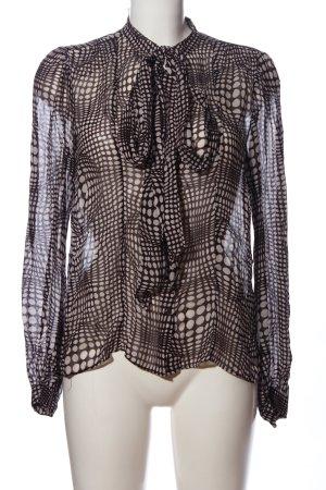 Zara Woman Langarmhemd schwarz-weiß Allover-Druck Casual-Look
