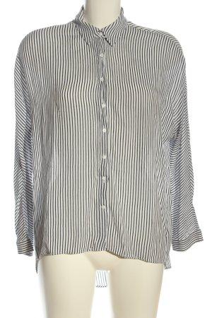 Zara Woman Langarmhemd weiß-schwarz Streifenmuster Casual-Look
