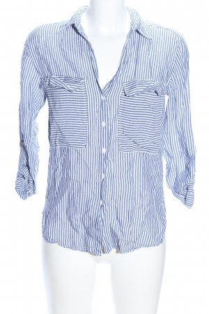 Zara Woman Langarmhemd weiß-blau Streifenmuster Casual-Look