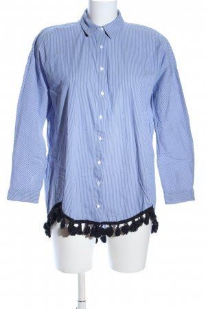Zara Woman Langarmhemd blau-weiß Streifenmuster Casual-Look