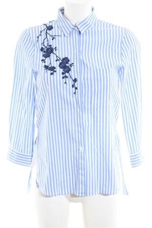 Zara Woman Langarmhemd blau-weiß Blumenmuster Business-Look