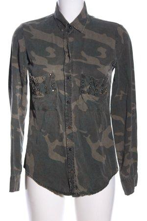 Zara Woman Langarmhemd khaki-wollweiß Camouflagemuster Casual-Look