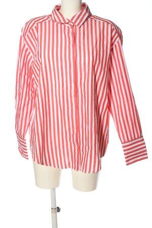 Zara Woman Koszula z długim rękawem biały-czerwony Wzór w paski