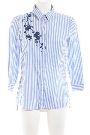 Zara Woman Langarmhemd weiß-blau Blumenmuster Casual-Look