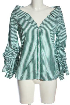 Zara Woman Langarmhemd grün-weiß Streifenmuster Casual-Look