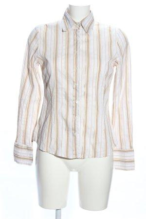Zara Woman Shirt met lange mouwen wolwit-wit gestreept patroon