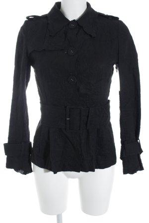 Zara Woman Langarmhemd schwarz Spitzenbesatz