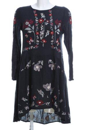 Zara Woman Abito a maniche lunghe nero stampa integrale stile casual