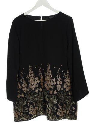 Zara Woman Langarmkleid Allover-Druck Casual-Look