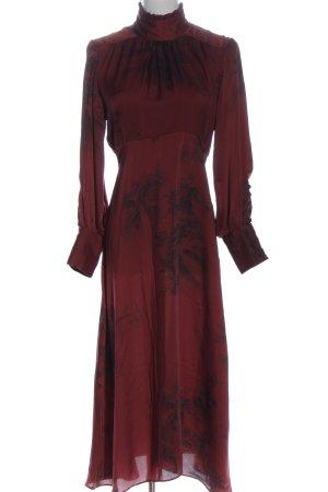 Zara Woman Langarmkleid rot-schwarz abstraktes Muster Elegant