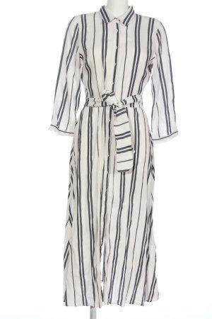 Zara Woman Langarmkleid wollweiß-schwarz Streifenmuster Casual-Look