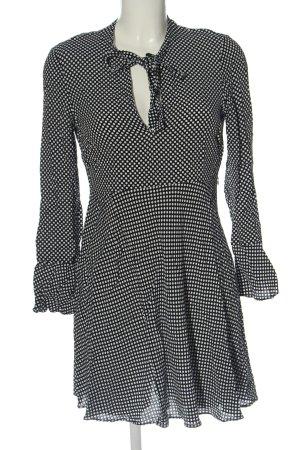 Zara Woman Langarmkleid schwarz-weiß Allover-Druck Casual-Look