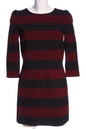 Zara Woman Langarmkleid rot-schwarz Streifenmuster Casual-Look