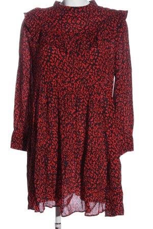 Zara Woman Langarmkleid rot-schwarz Allover-Druck Casual-Look