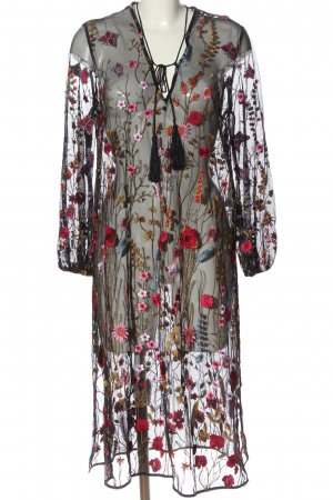 Zara Woman Langarmkleid schwarz Allover-Druck Elegant