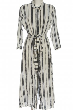 Zara Woman Langarmkleid weiß-schwarz Allover-Druck Casual-Look