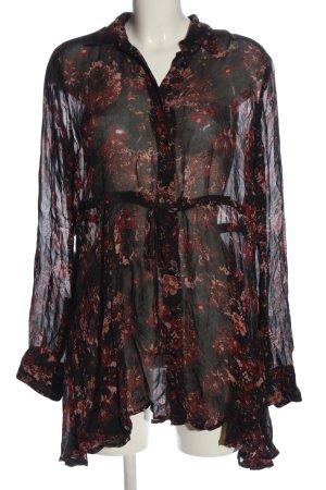 Zara Woman Langarmkleid schwarz-rot Allover-Druck Casual-Look