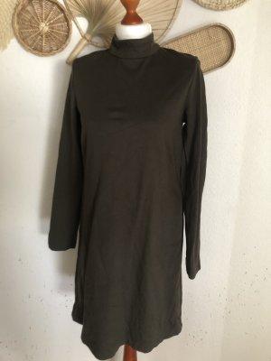 Zara Woman Langarmkleid Olive Business-Look