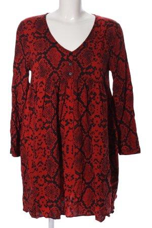 Zara Woman Langarmkleid rot-schwarz Animalmuster Casual-Look