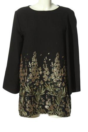 Zara Woman Langarmkleid schwarz-goldfarben Casual-Look