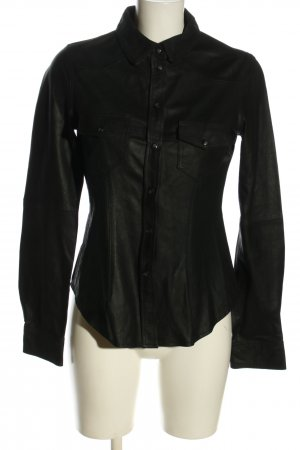 Zara Woman Lederhemd schwarz Casual-Look