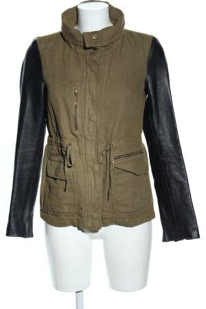 Zara Woman Lederjacke khaki-schwarz Casual-Look