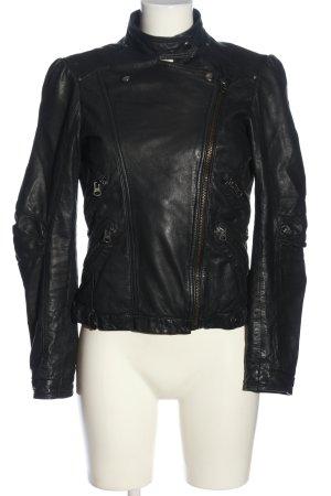 Zara Woman Lederjacke schwarz Casual-Look