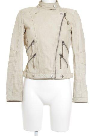 Zara Woman Lederjacke hellbeige Casual-Look