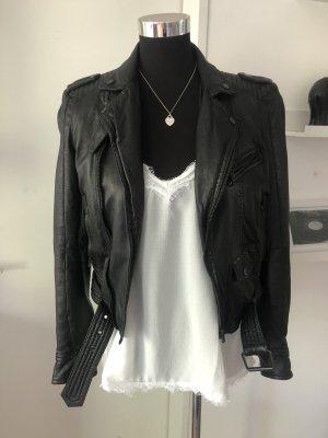 Zara Woman Lederjacke schwarz 34 XS biker echt top toll