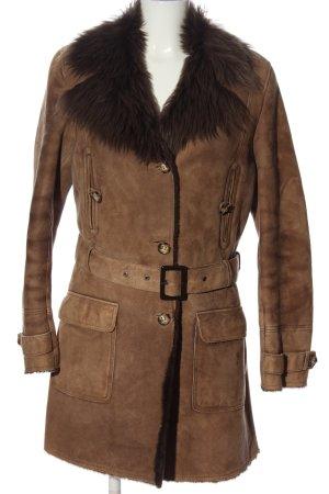 Zara Woman Leren jas bruin casual uitstraling