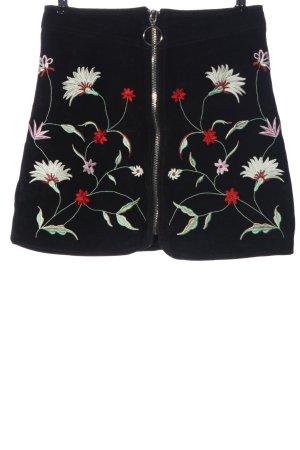 Zara Woman Falda de cuero negro estampado floral look casual