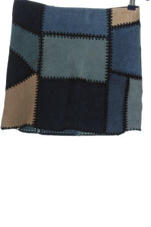 Zara Woman Lederrock blau-creme Casual-Look