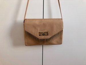 ZARA Woman Ledertasche Tasche Umhängetasche Beige mit Goldenen Details