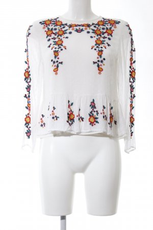Zara Woman Leinenbluse Blumenmuster Casual-Look