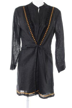 Zara Woman Leinenbluse schwarz-hellorange extravaganter Stil