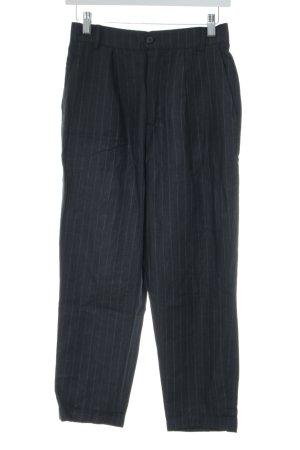 Zara Woman Leinenhose schwarz-hellgrau Streifenmuster Business-Look