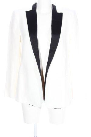 Zara Woman Lange blazer wit-zwart zakelijke stijl