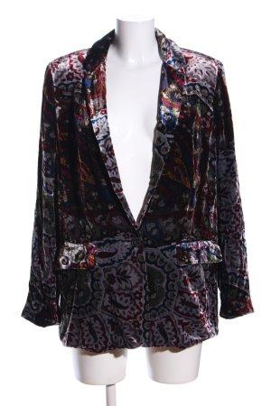 Zara Woman Long-Blazer rot-hellgrau abstraktes Muster Elegant