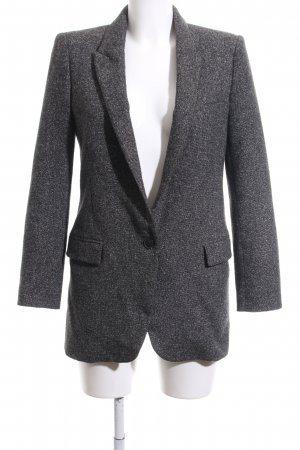 Zara Woman Long-Blazer hellgrau-weiß Webmuster Business-Look