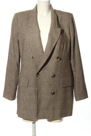 Zara Woman Długa marynarka jasnoszary-brązowy Wzór w kratkę