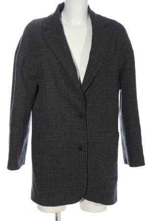 Zara Woman Long-Blazer schwarz-hellgrau Streifenmuster Business-Look